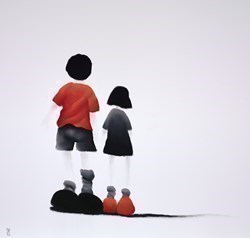 Kids by Mackenzie Thorpe -  sized 28x28 inches. Available from Whitewall Galleries